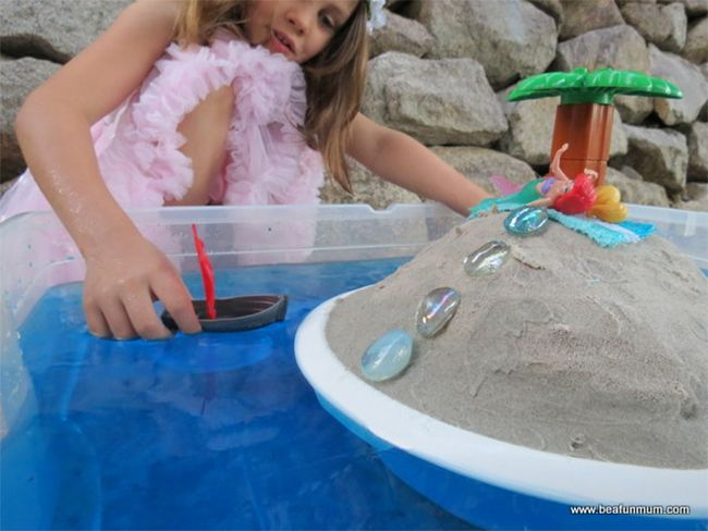 desert island u2013 be a fun mom sand water and some plastic recipients make
