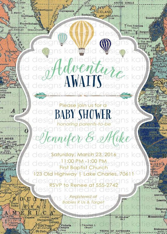 Adventure awaits baby shower invitation gender by katiedidesigns