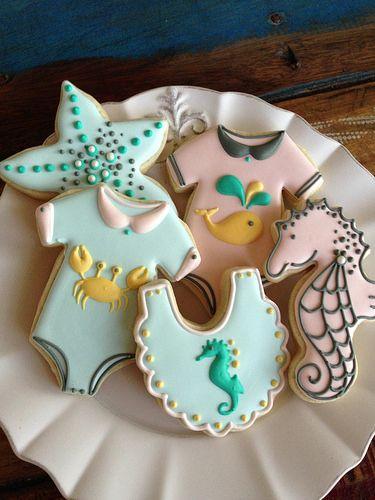Baby Shower Under The Sea Creatures Iced Decorated Sugar Cookies   Seahorse  Bib, Crab Onesie, Starfish.