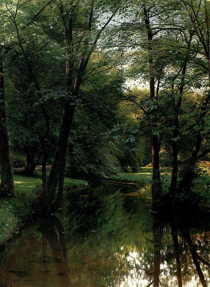 """Peder Mork Monsted (Peder Mork Mønsted) (1859-1941) Figures Resting In A River Landscape Oil on canvas 1898 74.6 x 99.3 cm (29.37"""" x 3' 3.09"""")"""