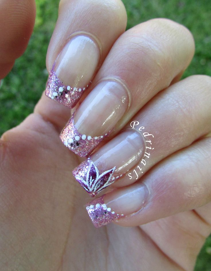 Million brilliance french manicure with pink glitter, dots and handpainted floral decorations made on natural square nails http://pedrinails.blogspot.it/2015/05/million-brilliance-french-manicure-con.html