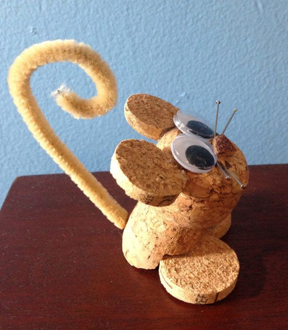 mouse figurine/ornament made from recycled door CorkCreationsbyK