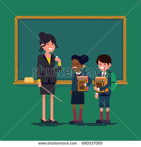 Flat vector character design on teacher woman and students standing together. Female professor and school kids with classroom chalkboard on background