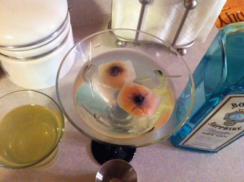 Eyeball ice cubes Lychees stuffed with a blueberry. ... No. Never. No ...