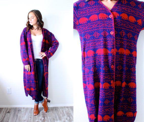 Vintage boho large sweater bear coat robe // blue red tribal print sweater // navajo sweater // bohemian //oversized sweater / jacket shawl