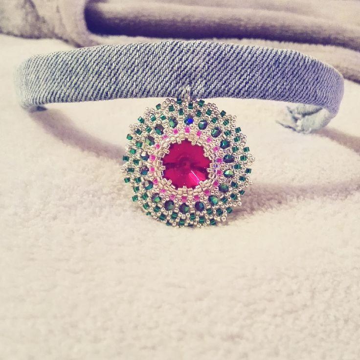 Zabett Choker Necklace Denim Flower Firenze Italy