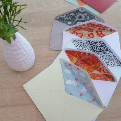 envelopes with color inserts: Peasy Envelopes, Decorating Envelopes, Decorated Envelopes, Decorative Envelopes, Diy Envelopes, Craft Ideas, Easy Peasy