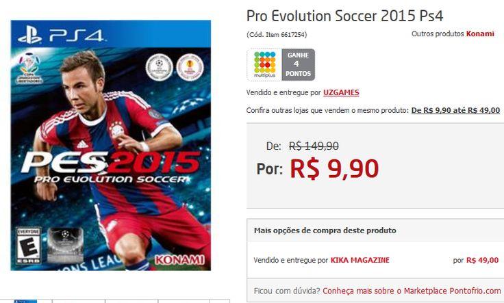 Jogo Pro Evolution Soccer 2015 para PS4 - PES 2015 << R$ 990 >>