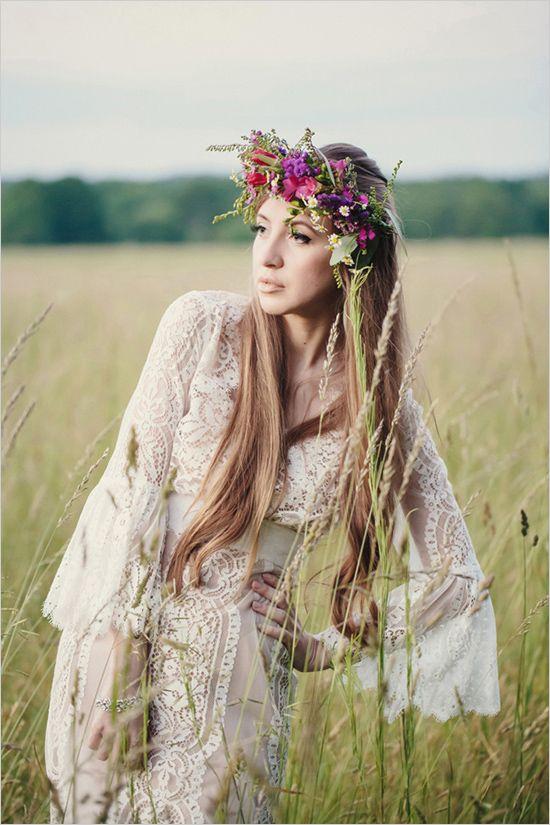 Wreath of flowers Boho chic bride looking