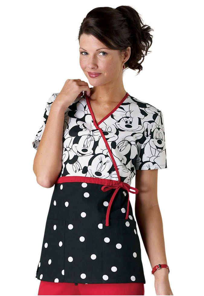Cherokee Disney Miss Minnie Mouse print empire waist mock-wrap scrub top | Scrubs and Beyond