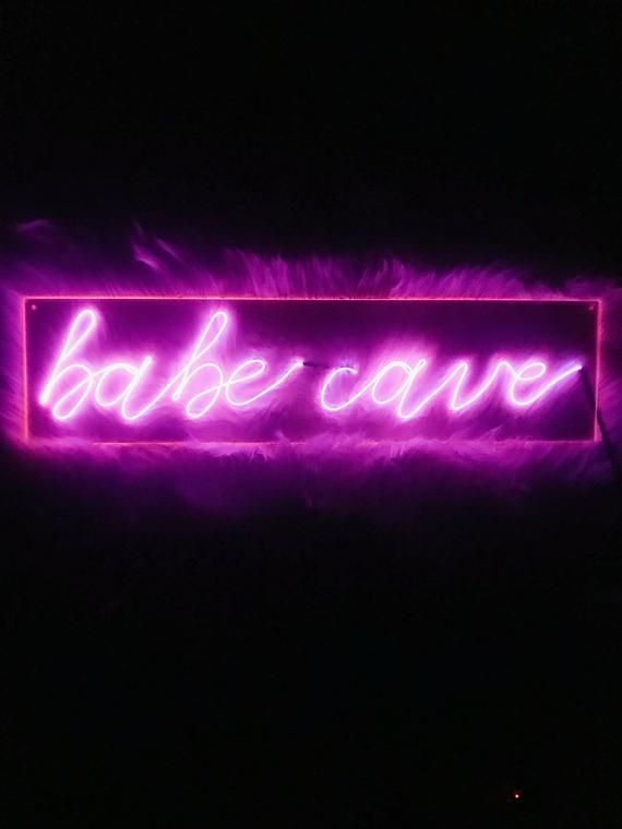 Babe Cave Neon Sign 24 Inches Custom Handmade Neon Sign Bedroom Neon Signs Neon Room