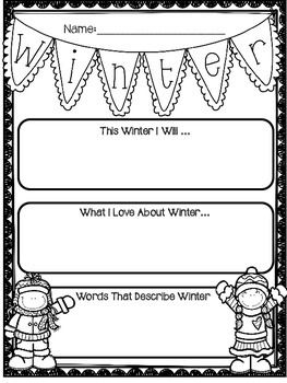 FREE Winter Activity - This great winter freebie will be a fun writing activity for students.  #tpt #free #writing