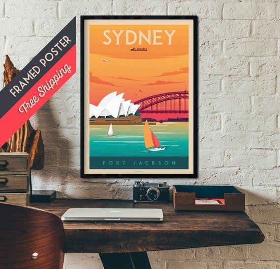 Sydney Australia Vintage Travel Poster Sydney Skyline Framed Poster Australia Wall Art Sydney Home Decoration Gift Idea Retro Print Poster Frame Australia Wall Art Retro Prints
