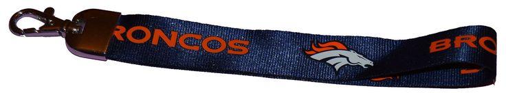 Official NFL Denver Broncos Wristlet Lanyard Keychain KEY Ring