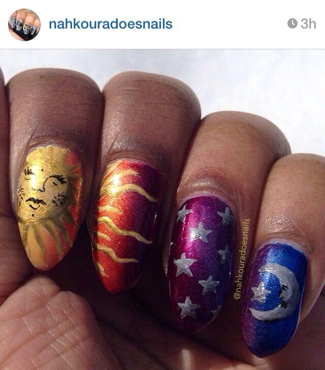 sun and moon metallic nails