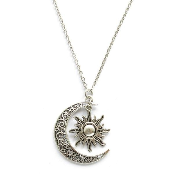 Crescent Moon and Sun Pendant Charm Universe Necklace ($5.99) ❤ liked on Polyvore featuring jewelry, necklaces, charm pendant, charm necklace, pendant charms, pendants & necklaces and charm pendant necklace