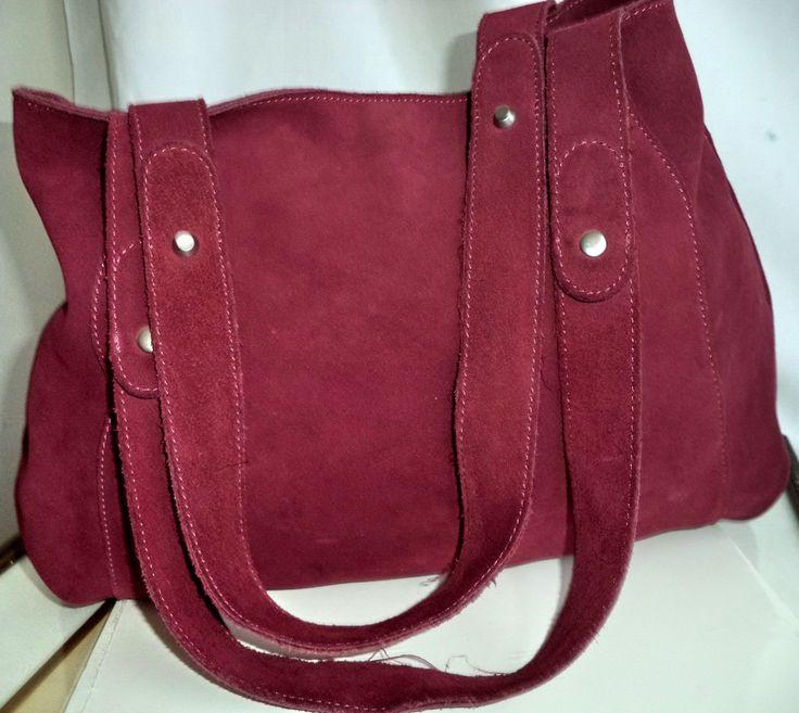 Suede Pink Berry Hobo Bag Banana Republic vintage Large Leather Shoulder bag Satchel Holdall Raspberry Preppy Town funky handbag tote mint by MushkaVintage3 on Etsy