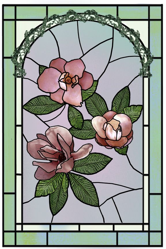 flickr photos stained glass flowers | Stained Glass Magnolias Ma by Julie Rodriguez Jones