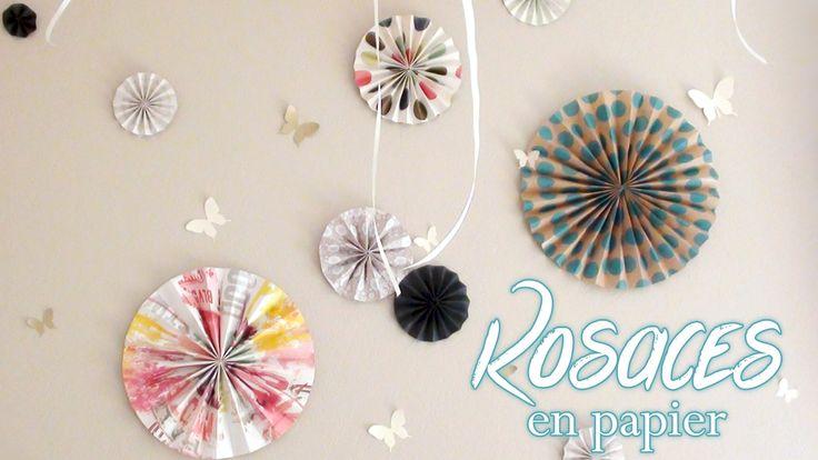 ♡ DIY . DECO fabriquer des Rosaces en Papier ♡ top explication avec du papier peint