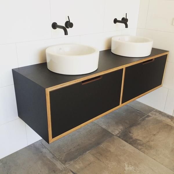 Black formica laminated onto Birch plywood, the adults version of the yellow that looks fabulous with the black tap ware. Download Vanities Pricelist