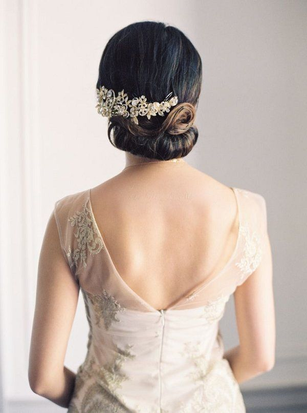 simple low chic wedding chignon hairstyle with headpiece