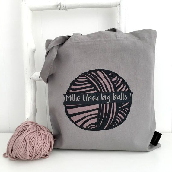 Big Balls  Personalised  knitting bag   I by KellyConnorDesigns