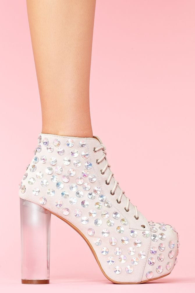 Lita Jeweled Platform Boot; I bet I can buy a plain-jane pair of heels and bedazzle them in a similar fashion....