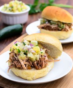 Easy Crock Pot Hawaiian BBQ Pulled Pork Sandwich with Pineapple Relish will rock the taste buds! - The Spice Kit Recipes (www.thespicekitrecipes.com)