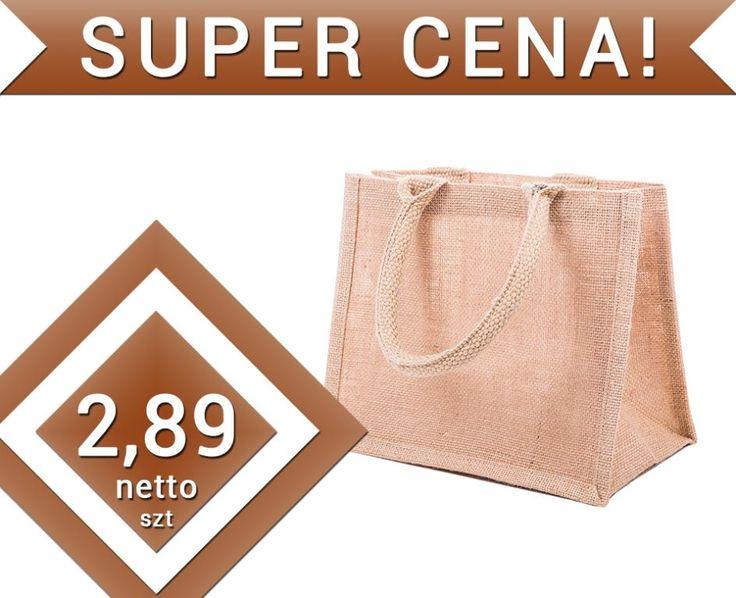 Torba na zakupy 100% JUTA torebka 26x14x22cm TANIO