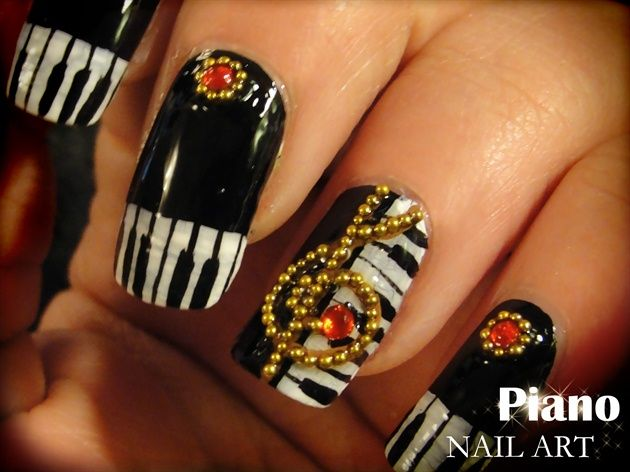 Piano nail art by Pinkflyingcow - Nail Art Gallery nailartgallery.nailsmag.com by Nails Magazine www.nailsmag.com #nailart