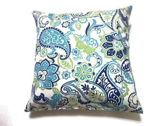Reserved Decorative Pillow Cover Turquoise Navy Blue Green