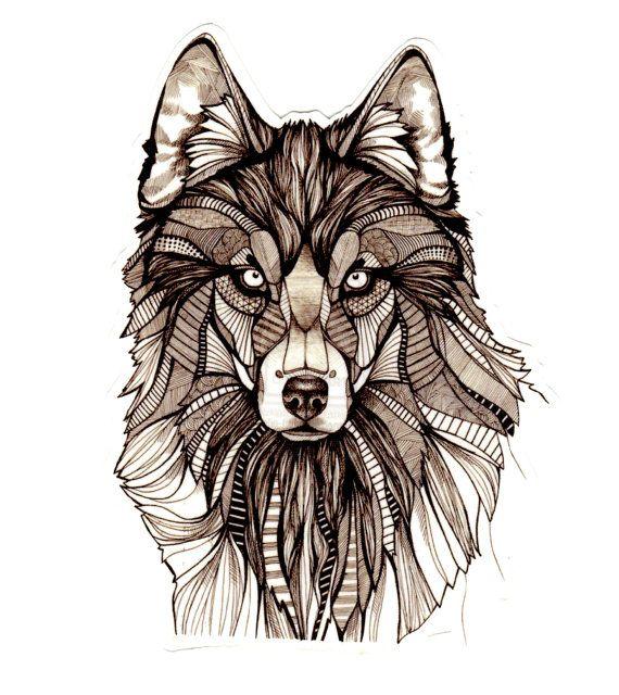 Ce loup tatttoo est belle et détaillées. Mesure un généreux: 4 « x 5 1/4 » Objectif de Atatttood est de créer des tatouages bizarres, insolites ou tout