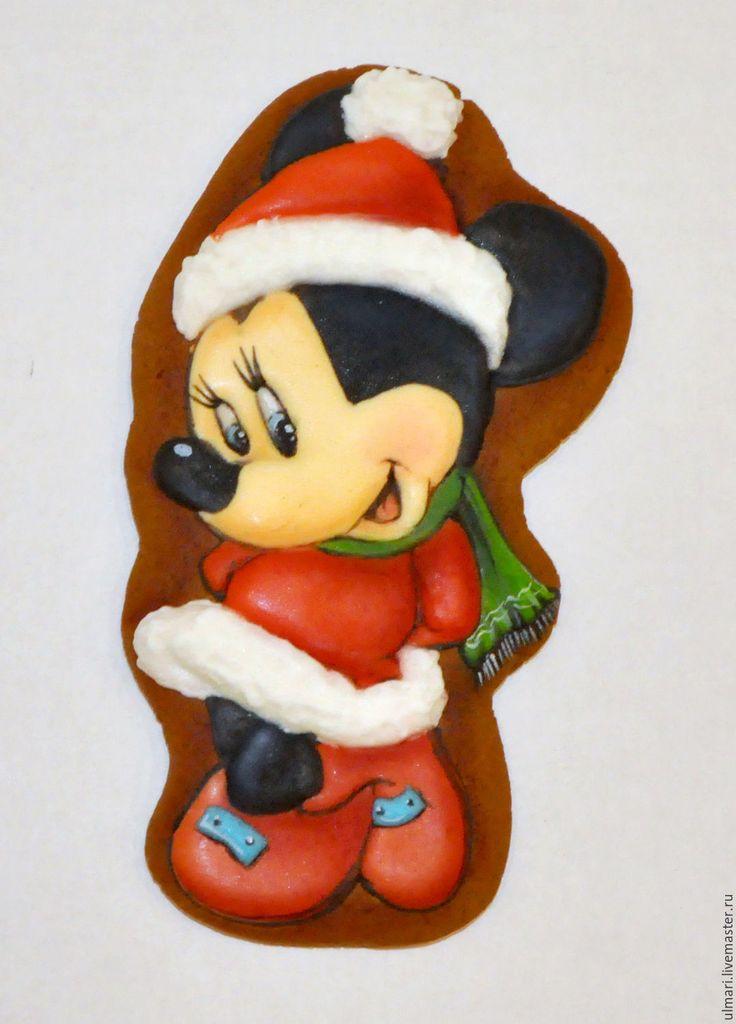 Купить Пряник имбирный новогодний Минни Маус. Кулинарный сувенир - пряник, Пряники имбирные