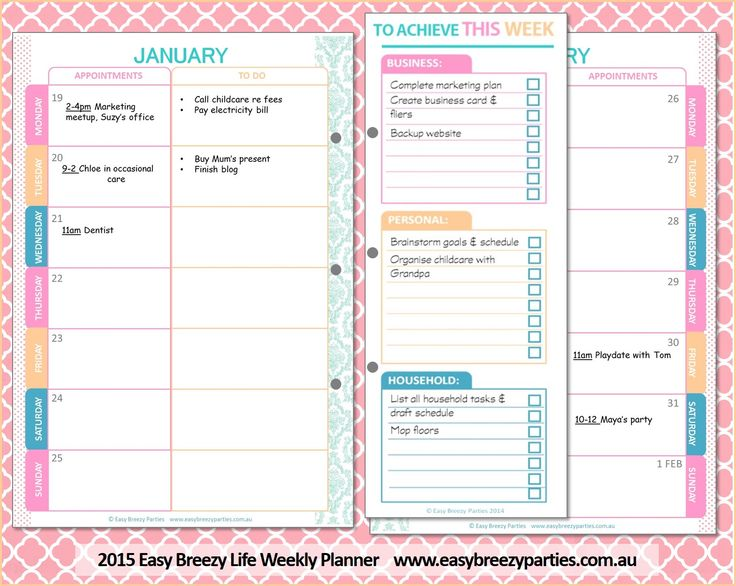 Get organised in 2015! The 2015 Easy Breezy Life Weekly Planner incorporates goal setting, an appointments diary, to-do lists and brainstorming pages into one clever format that allows you to see everything important for the week ahead at a single glance. Purchase your instant download at https://www.etsy.com/listing/215782309/the-2015-easy-breezy-life-weekly-planner #planner #2015 #easybreezylife