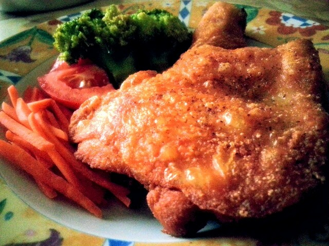 Homemade chicken chop by my housemate.