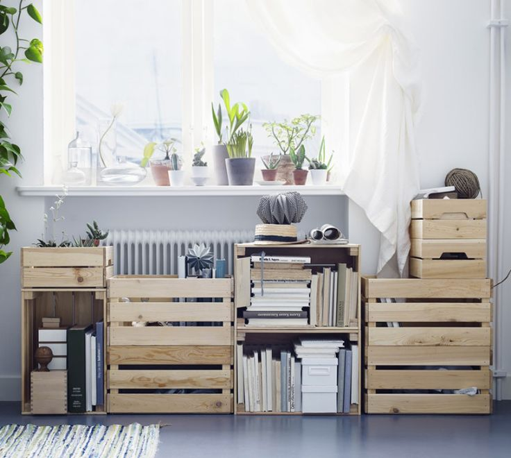 MY IKEA CATALOGUE 2016 FAVOURITES; I love the KNAGGLIG boxes in untreated pine wood, they are great on their own or stacked together as a custom storage space. // ingridesignblog.com