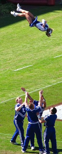 Toss by Roger Smith, via Flickr  University of Kentucky cheerleading cheerleaders, UK cheer, spirit squad (from Cheerleading: Collegiate 2 board)