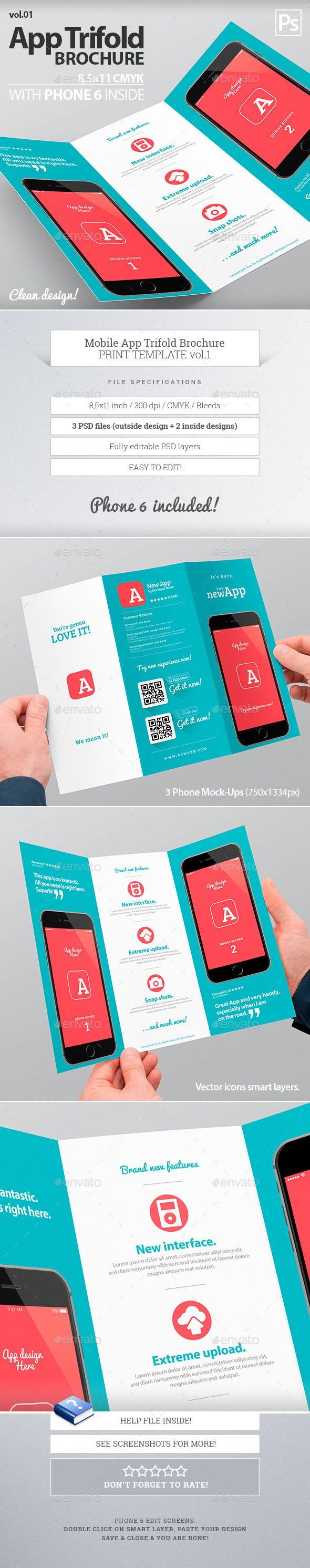 Mobile App Trifold Brochure Template #design Download: http://graphicriver.net/item/mobile-app-trifold-brochure-vol1/10158859?ref=ksioks