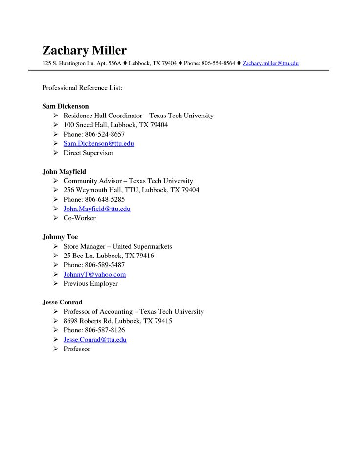 Example Of Reference Sheet For Resume