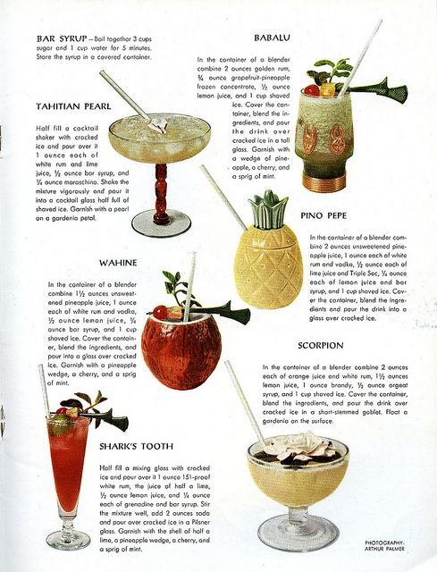 A collection of six inciting South Seas inspired cocktails from 1959.