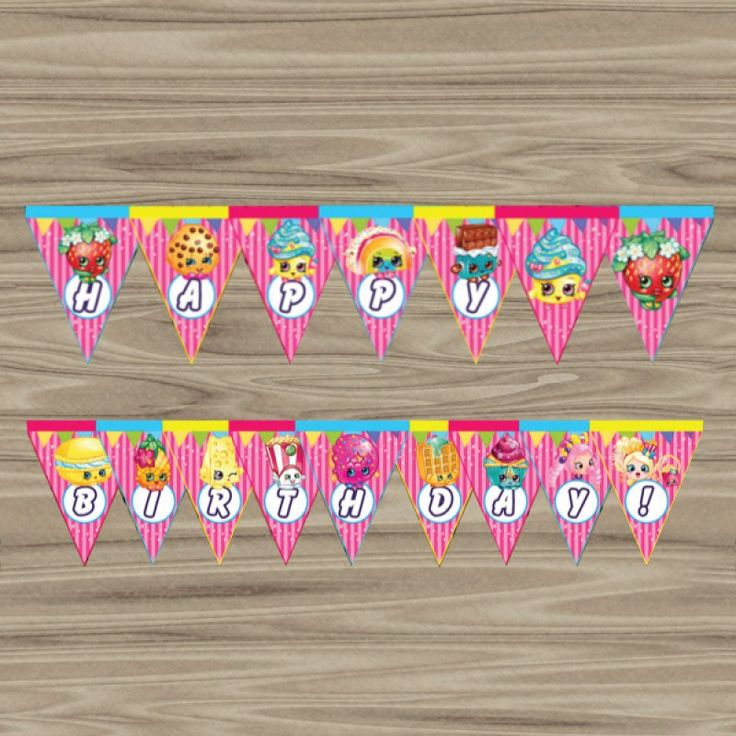 Shopkins Birthday Banner Shopkins Party Banner: Free Download Shopkins Triangle Banner