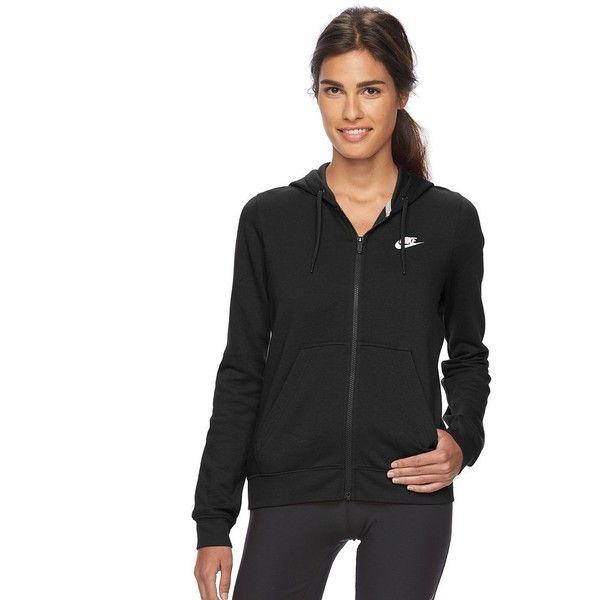 Women's Nike Full-Zip Fleece Hoodie ($60) ❤ liked on Polyvore featuring tops, hoodies, grey, sweatshirt hoodies, hooded pullover, zip front hoodie, fleece hoodies and nike hoodie