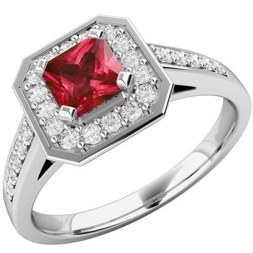 Inel cu Rubin si Diamant Dama Aur Alb 18kt cu un Rubin Patrat si Diamante Mici Rotund Briliant pe Margini Model.#: RDR661W