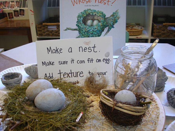 Clay work at the Art Studio: Clay nest provocation. Can you make a nest that fits an egg? Can you add texture to your nest? bird inquiry