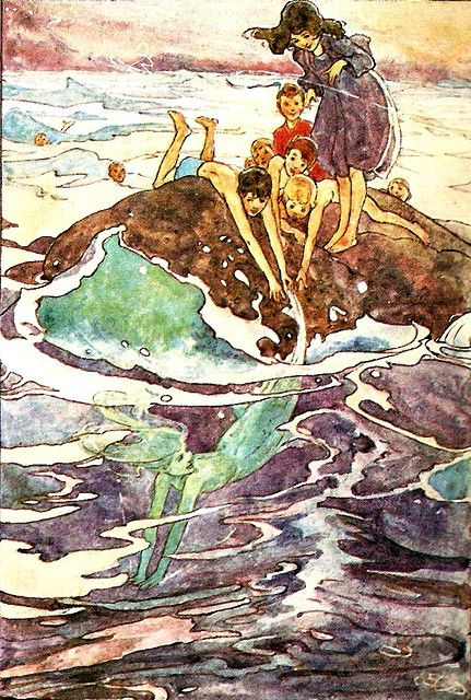 Illustration from the now very rare Peter Pan Picture Book: Edition de Luxe 1907, (250 copies) with illustrations by Alice Bolingbroke Woodward (1862-1951) an English illustrator who created 28 coloured plates for the 250 copies of this book printed on handmade paper, with the plates mounted.