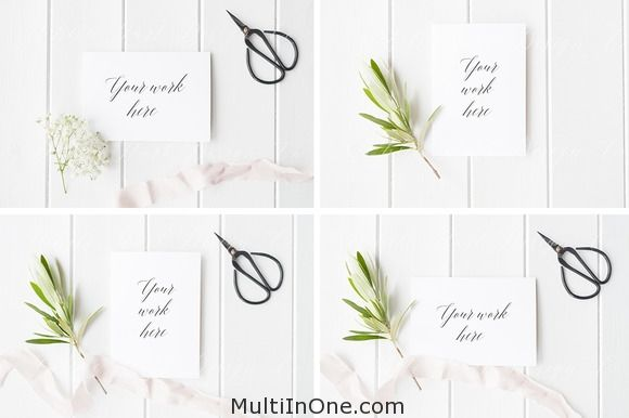 BUNDLE 4 x Greeting card mock ups Free Download