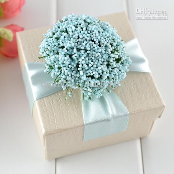 Elegant Wedding Gift Ideas: 100 Pcs Sky Blue Ribbon Elegant Box Ivory Jewelry Square