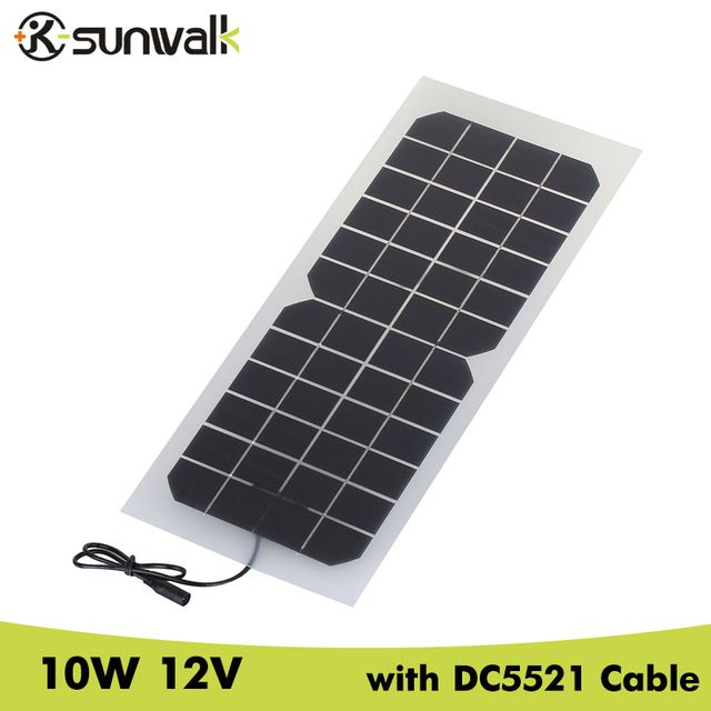 Sunwalk Monocrystalline Silicon 10w 12v Solar Panel With Dc 5521 Cable Semi Flexible Transparent 12v Solar Pan Solar Panel Charger Solar Panels 12v Solar Panel