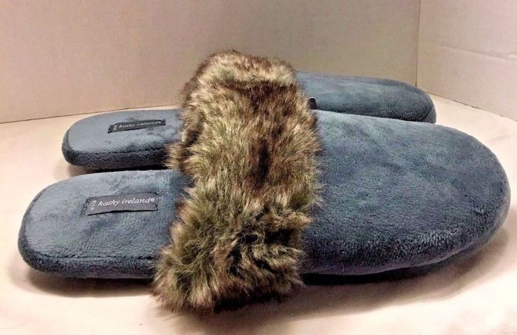 Kathy Ireland Faux Fur Trim Slippers Teal Plush Slip On Mules Size L 9-10 #KathyIreland #Mules