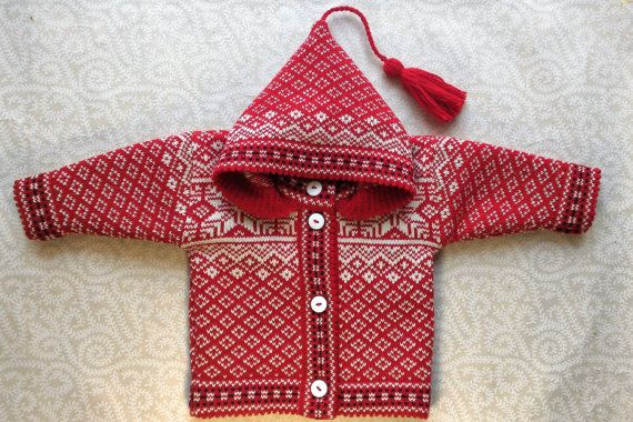 Trendy winter cardigan for children with ornament and by LanaNere